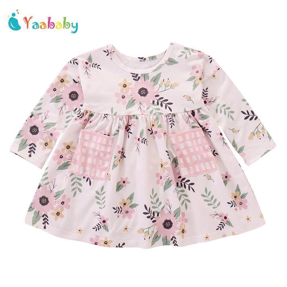 Yaababy Gadis Musim Gugur Lengan Panjang Bayi Cetak Motif Bunga Baju Bentuk A Baju Cantik