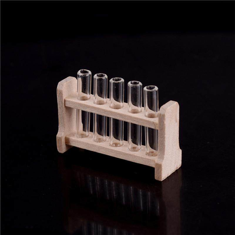 1//12 Wood Miniature Test Tube Equipment for Dolls House Lab Room Accessories