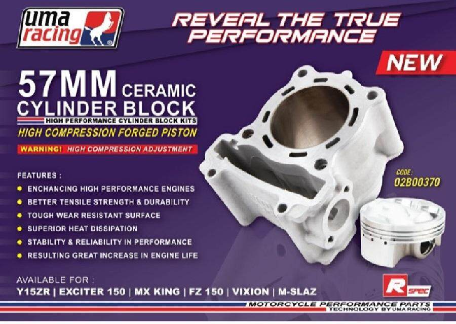 UMA RACING LC135 /FZ150 / Y15ZR 57MM RACING BLOCK