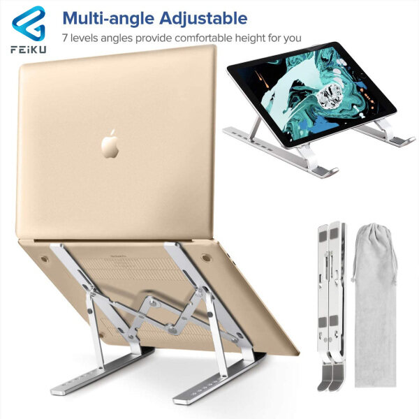 "FEIKU Portable Foldable Laptop Stand Ergonomic Adjustable Aluminum Laptop Holder For MacBook Air Pro 9-17.3"" Notebook Computer Stand"