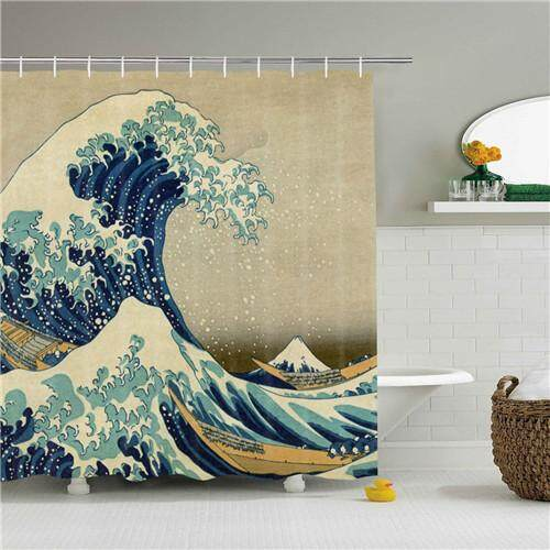 Ombak Besar Off Kanagawa Shower Kamar Mandi Tirai Gelombang Kain Motif Shower Tirai Dekorasi Rumah Tahan Lama Tirai Mandi 60 * 72in By Global Rich.