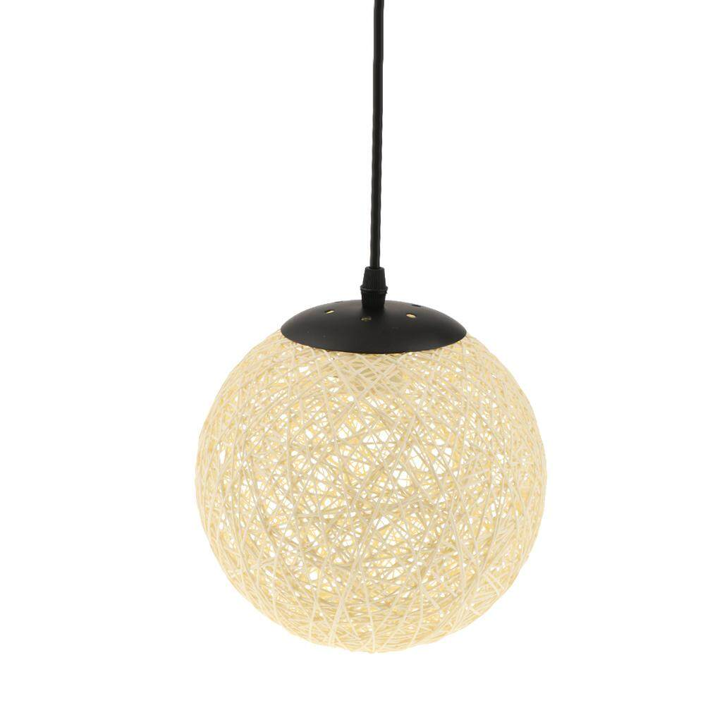 Perfk Dia.20cm Rattan Ceiling Pendant Lampshade for Coffee Shop Home Decor Set 3pc