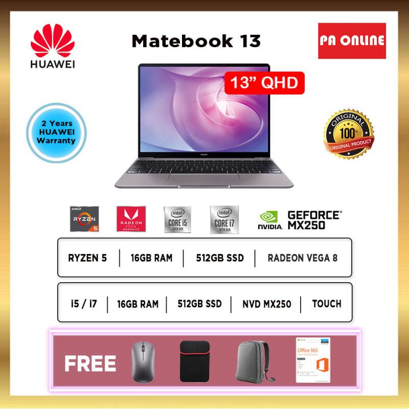 Huawei MateBook 13 R5 i5 i7 2020- Intel Core i5 /Core i7 /AMD Ryzen 5 /16GB RAM /512GB PCIe SSD /13 FHD IPS /2GB NVD MX250(i5&i7) ,AMD Vega 8(Ryzen 5) /Win 10 /2 Years Malaysia