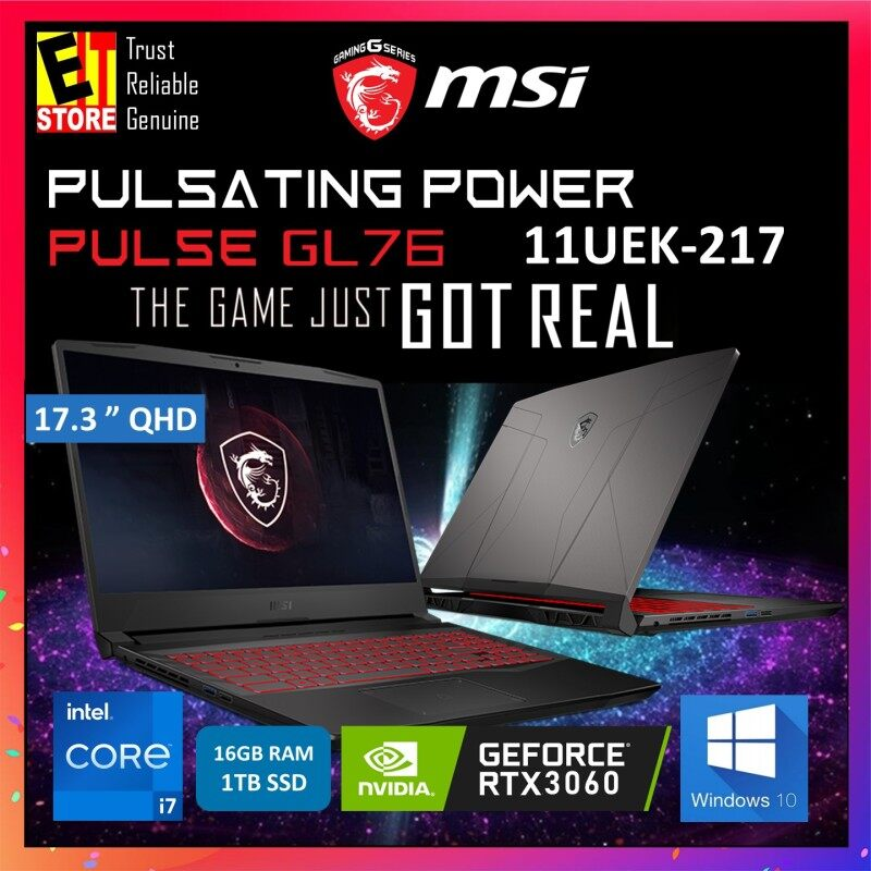 MSI PULSE GL76 11UEK-217 GAMING LAPTOP - TITANIUM GRAY (i7-11800H/16GB/1TB SSD/17.3 QHD/6GB RTX3060 GDDR6/W10/2YRS) + BAG Malaysia