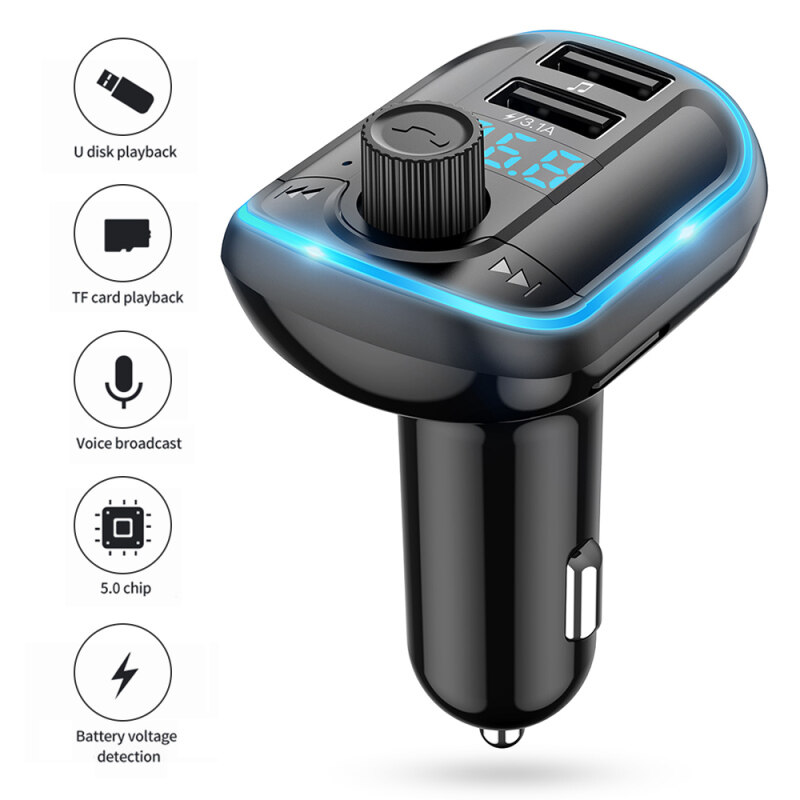 niceEshop Breathing atmosphere lamp car Bluetooth MP3 hands-free player FM transmitter Singapore
