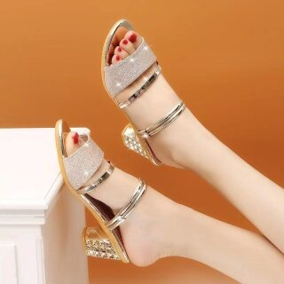 Giày cao gót nữ gót -Giày gót trong cao 4cm - Giày nữ da mềm kim tuyến 2 màu Đen và Vàng thumbnail