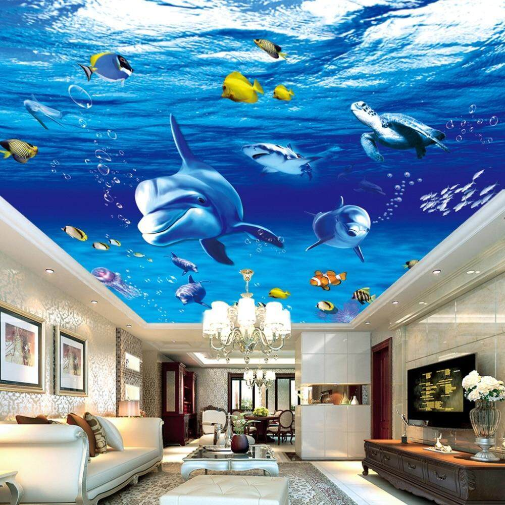 140X70 CM Custom 3D Foto Dinding Kertas Dolphin Fish Plafon Gantung Lukisan Seni Modern Ruang Keluarga Plafon Kamar Tidur Desain Wallpaper Mural