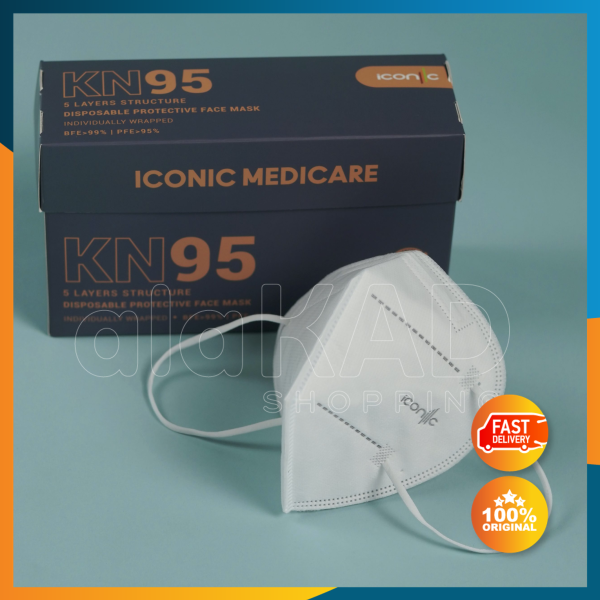 🌷Alakad🌷ICONIC KN95 5 layer Adult Medical Premium Quality 5 ply Protective Disposable Face Mask 10pc Box Packaging 成人口罩