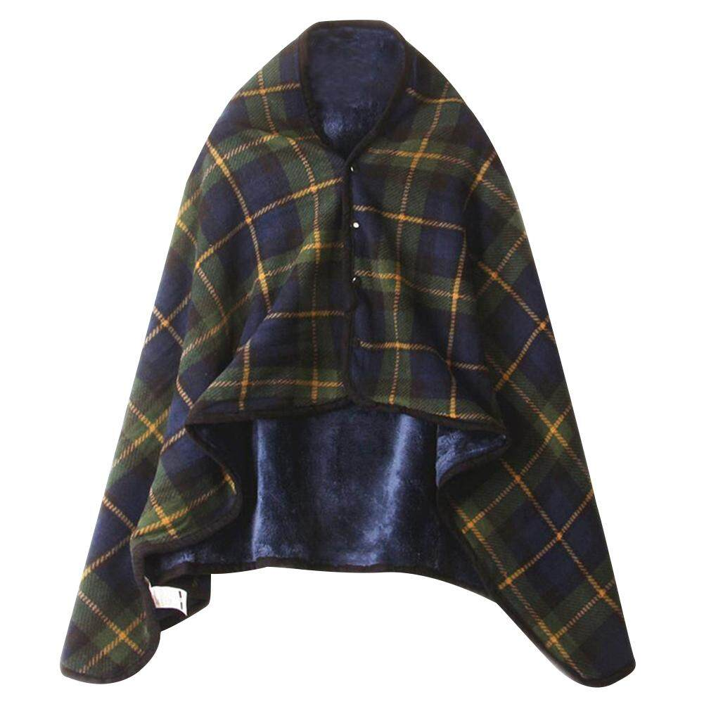 Plaid Warm Flannel Blanket Office Legs Knee Throw Lazy Shawl Wearable Thick Blanket With Button Bath Towel By Sawu.
