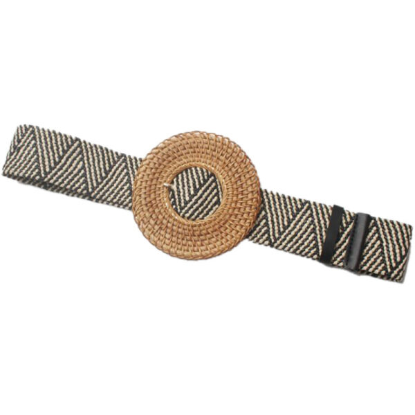 Giá bán Bohemian Concave Shape Exaggerated Hand-Woven Large Ring Pin Buckle Wax Rope Braided Elastic Wide Belt Girdle