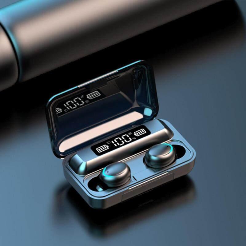 niceEshop F9-5 TWS Wireless Earphone,IPX7 Waterproof 9D Nosie Cancellation Headphone Smart Digital LED Case Fingerprint Touch Control HiFi Earbuds Singapore