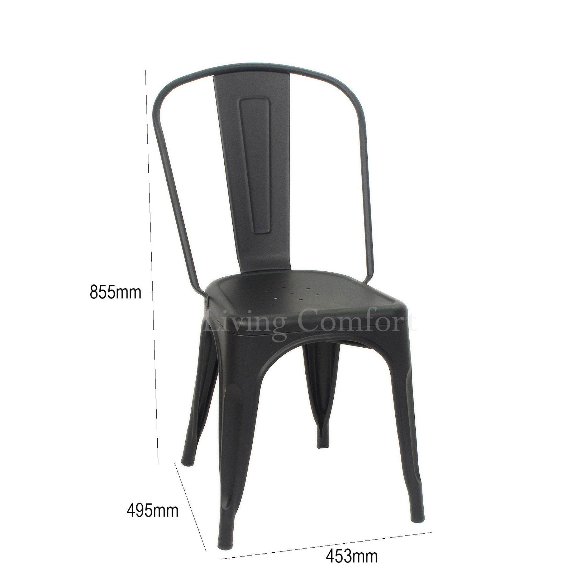 6 PCS TOLIX METAL DINING / RESTAURANT / CAFE / SIDE CHAIR (BLACK) made in  Malaysia