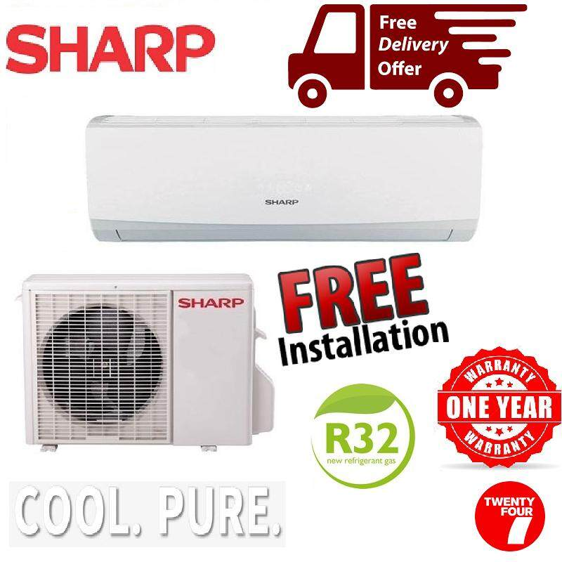 (Free Installation & Shipping)(Perak Only)Sharp Air Conditioner non-inverter 1.0HP AHA9WCD / AUA9WCD Aircond(8 Feet Copper Pipe)