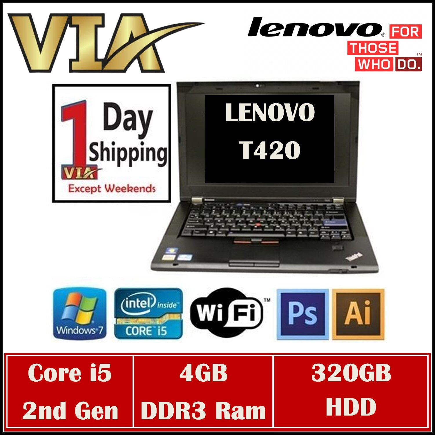 Thin & Light Business Model / Lenovo ThinkPad T420 Core i5 2nd Gen / 4GB or 8GB / 320GB HDD or 120GB SSD / Windows7 Pro / US Keyboard Malaysia