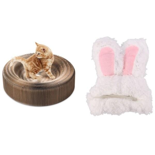 Portable Cat Scratcher Lounge Collapsible Cardboard & Pet Cat Rabbit Headgear Dog Cute Rabbit Ears Hat