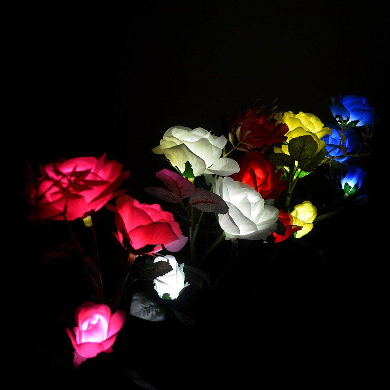 Hot Deals 3 Solar Rose Lights Outdoor Garden Led Ground Insert Artificial Lantern