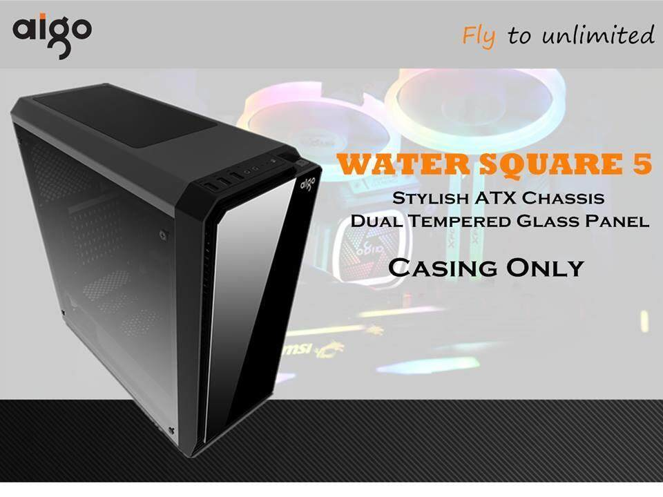 aigo Water Square 5 ATX Casing with 2 Sided Tempered Glass Panel Malaysia