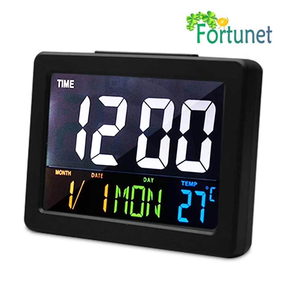 Fortunet Large Color Screen Digital Alarm Clock Desk Clock Show Date, Week, Temperature, Time, 24 Hour Formats,for Office, Bedroom, Living Room, Kitchen