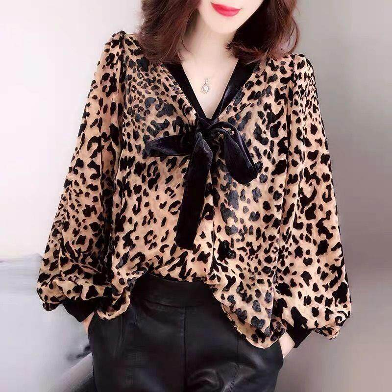 4c82e37e6f1f04 Chiffon shirt women loose fashion large size shirt leopard long-sleeved  blouse