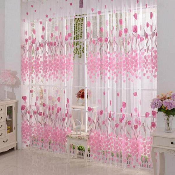 Rèm Cửa Sổ Cửa Sổ Vải Voan In Họa Tiết Hoa Tulip Lãng Mạn 100X200Cm Bảng Điều Khiển Rèm Mỏng