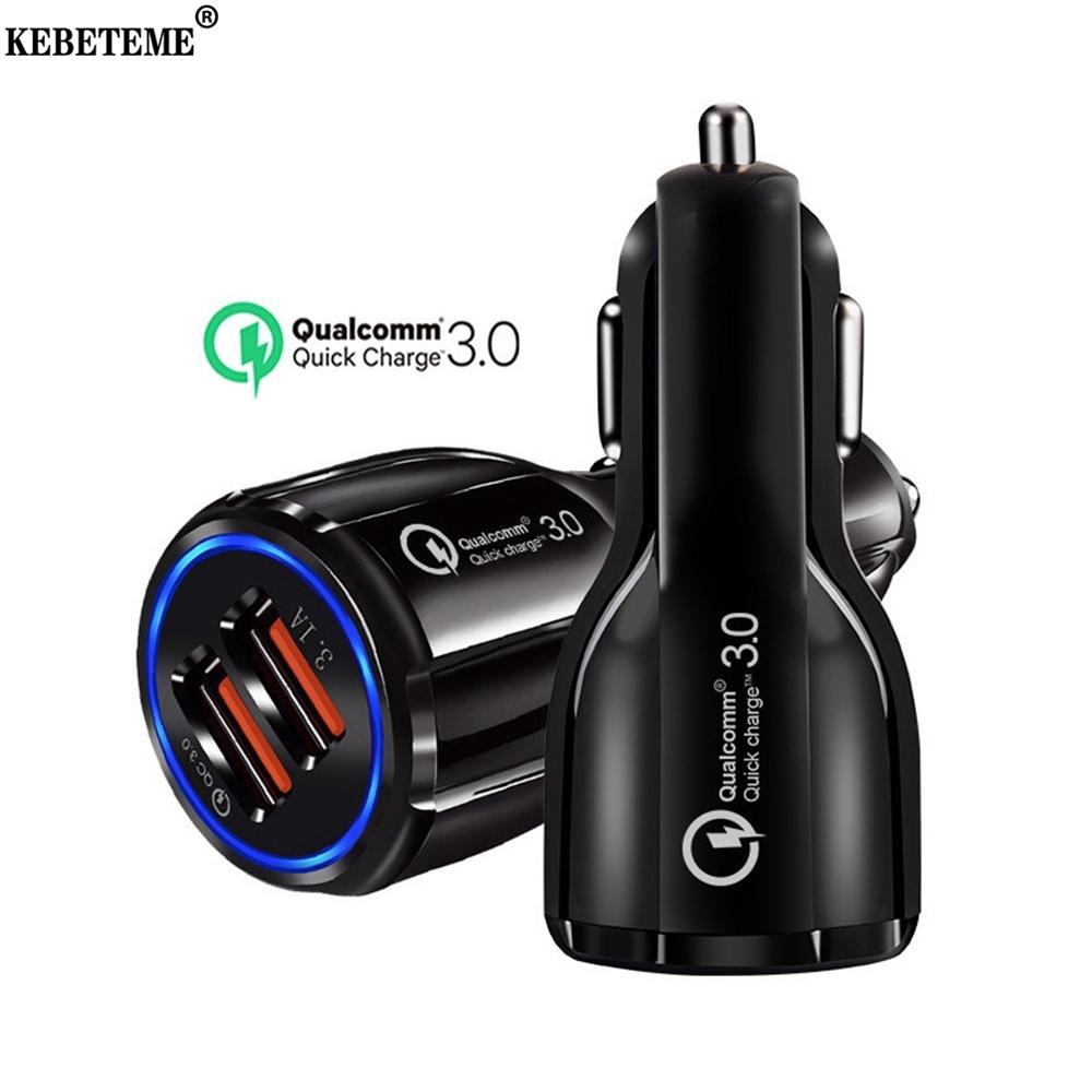 Kebeteme Dual USB Sạc Xe Hơi QC 3.0 12V 24V Nhanh Hơn Sạc 6.0 A Cho Máy Tính Bảng Điện Thoại Thông Minh