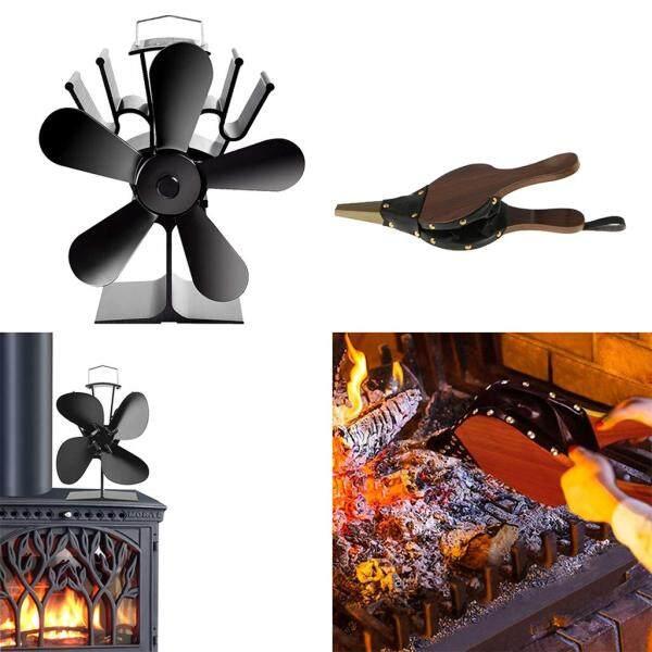 BolehDeals 5-Blade Fireplace Fans+Fireplace Bellows- Heat Powered Stove Fan Singapore