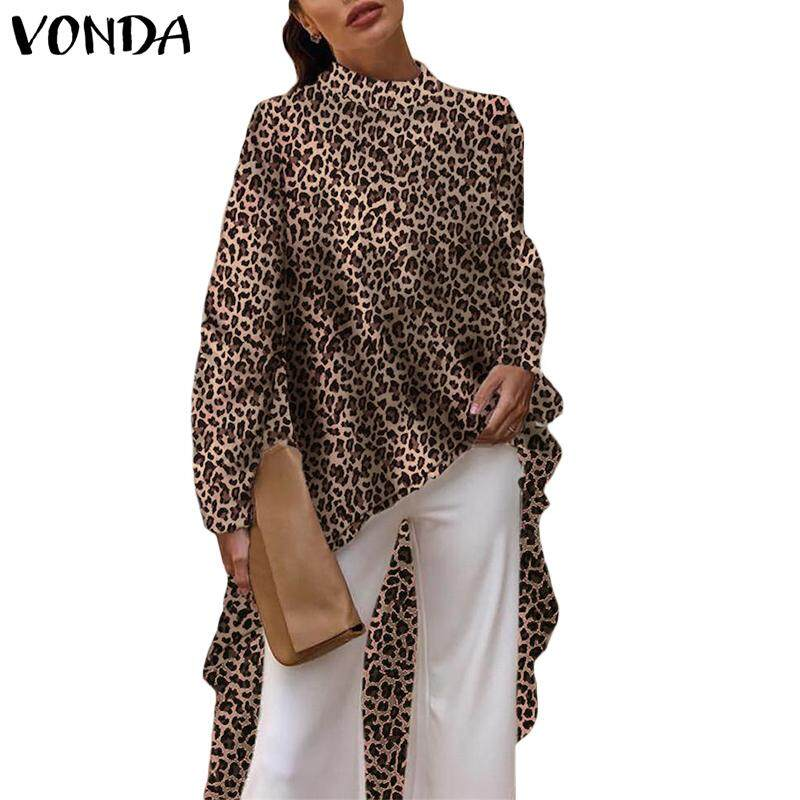 Vonda Women Long Sleeve Plus Size Long Top Shirt Leopard Print High Low Blouse By Vonda Official Store.