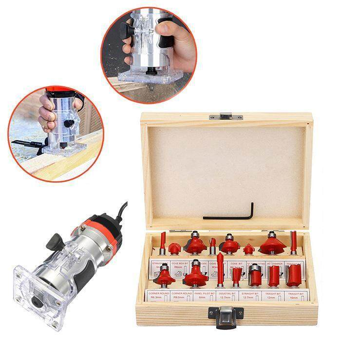 Fancikoko 15 pcs Wooden Sideboard Bit Router Bits Set for Woodworking Electric Hand Trimmer