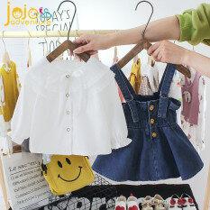 Bộ đồ mùa xuân cho bé gồm váy hai dây bằng jean và áo sơ mi dài tay cho bé gái từ 0-4 tuổi
