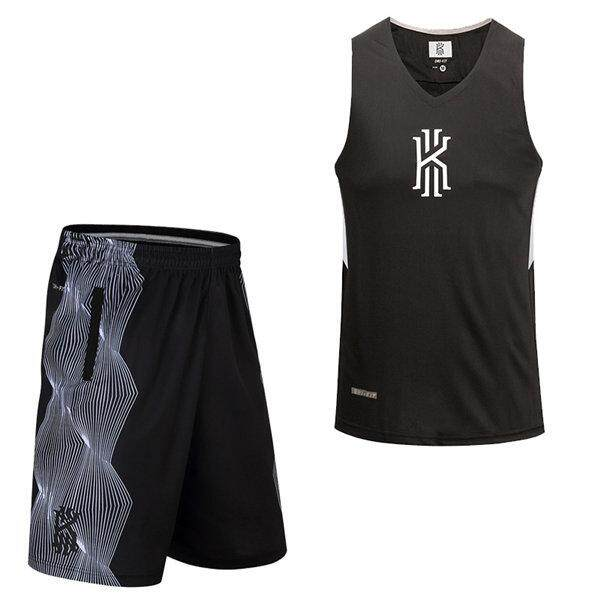 new concept e191b 381a9 1 Set Men's Large Size Loose Basketball Jersey+Shorts KD/KI/KB Combination  Training Competition Basketball Sportswear