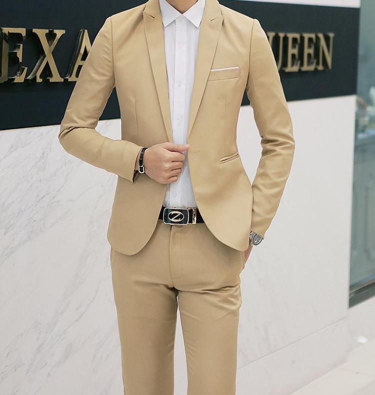 Áo khoác Blazer họa tiết trơn, phong cách đơn giản lịch lãm cho nam
