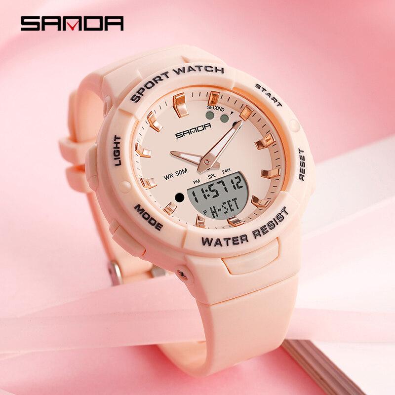 Sanda Waterproof Luxury Women Watch Original Sports Fashion Outdoor Casual Women Dual Display Multi-function Digital Womens Watch Malaysia