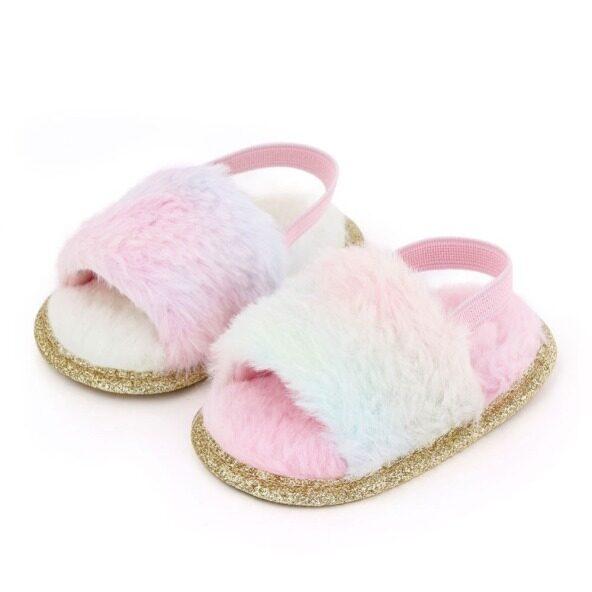 Giày Xăng-đan Lông Thú Cho Bé Trai Và Bé Gái, Giày Đế Bệt In Họa Tiết Da Báo Nhuộm Màu 5 Màu, Thời Trang Trẻ Em, Bé Gái, Pearlbabys giá rẻ