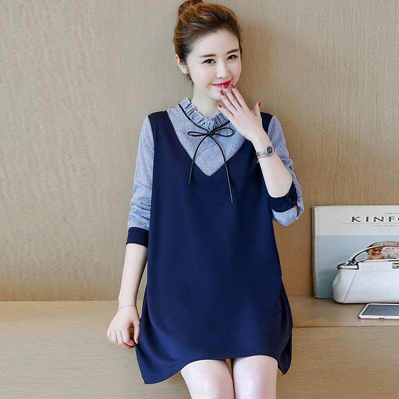 f66defce0a6 Maternity Clothes Spring And Autumn New Style Korean Style Stripes A-line  dress for women