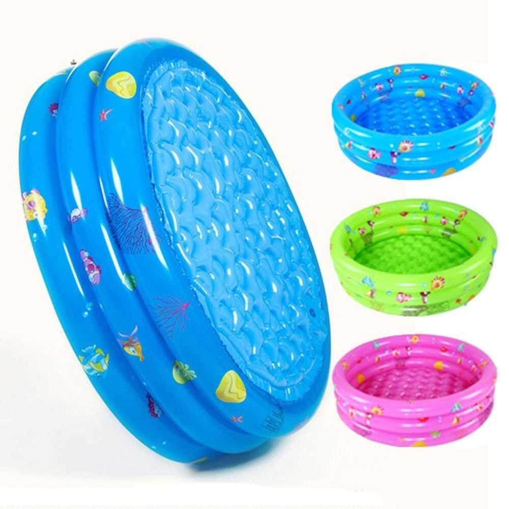 Inflatable Baby Kiddie Pool 3 Rings Circle Portable Baby Float Lounge Pool For Home Use & Outdoors Random Color 80cm