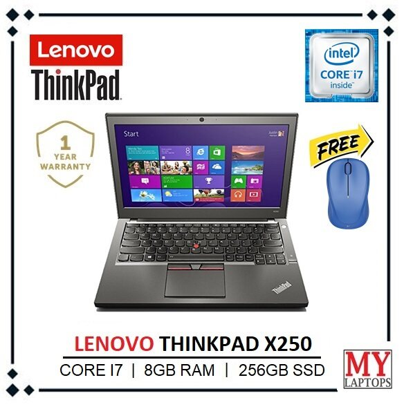 LENOVO THINKPAD X250 [CORE I7-5TH GEN / 8GB RAM / 256GB SSD] ULTRABOOK SLIM / 12.5 INCH / DUAL-BATTERY / WINDOWS 10 PRO / 1 YEAR WARRANTY Malaysia