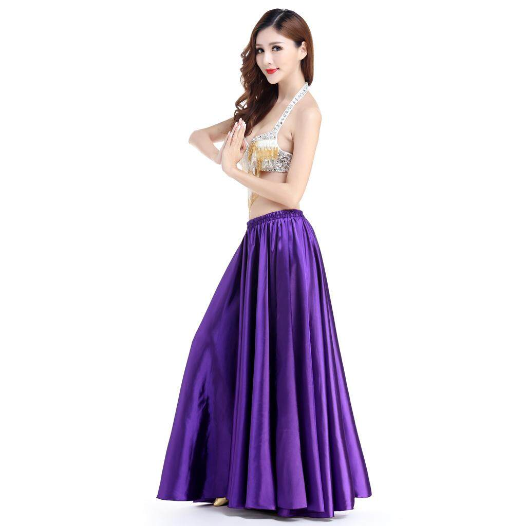 06414f181d1b Fenteer Belly Dance Satin Skirt Shining Full Circle Long Maxi Dress  Flamenco Cha Cha Dress