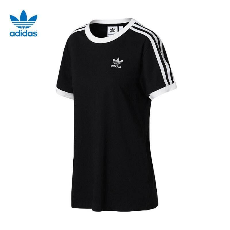 Adidas Clover ผู้หญิงกีฬาผู้ชายสบายๆคู่สีดำและสีขาวคลาสสิกเสื้อยืด C87751