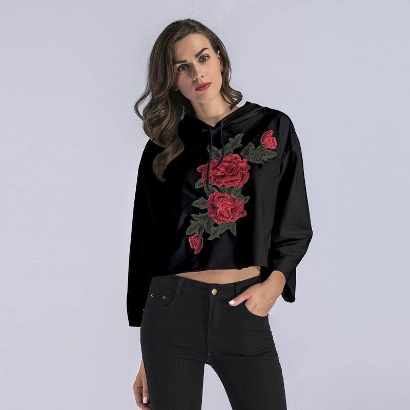 AngelCityMall 2019 ฤดูใบไม้ผลิสไตล์ใหม่ L ผู้หญิงตรงปักดอกไม้เสื้อกันหนาวมีฮู้ดเสื้อเชิ้ตหลวมติดกระดุม