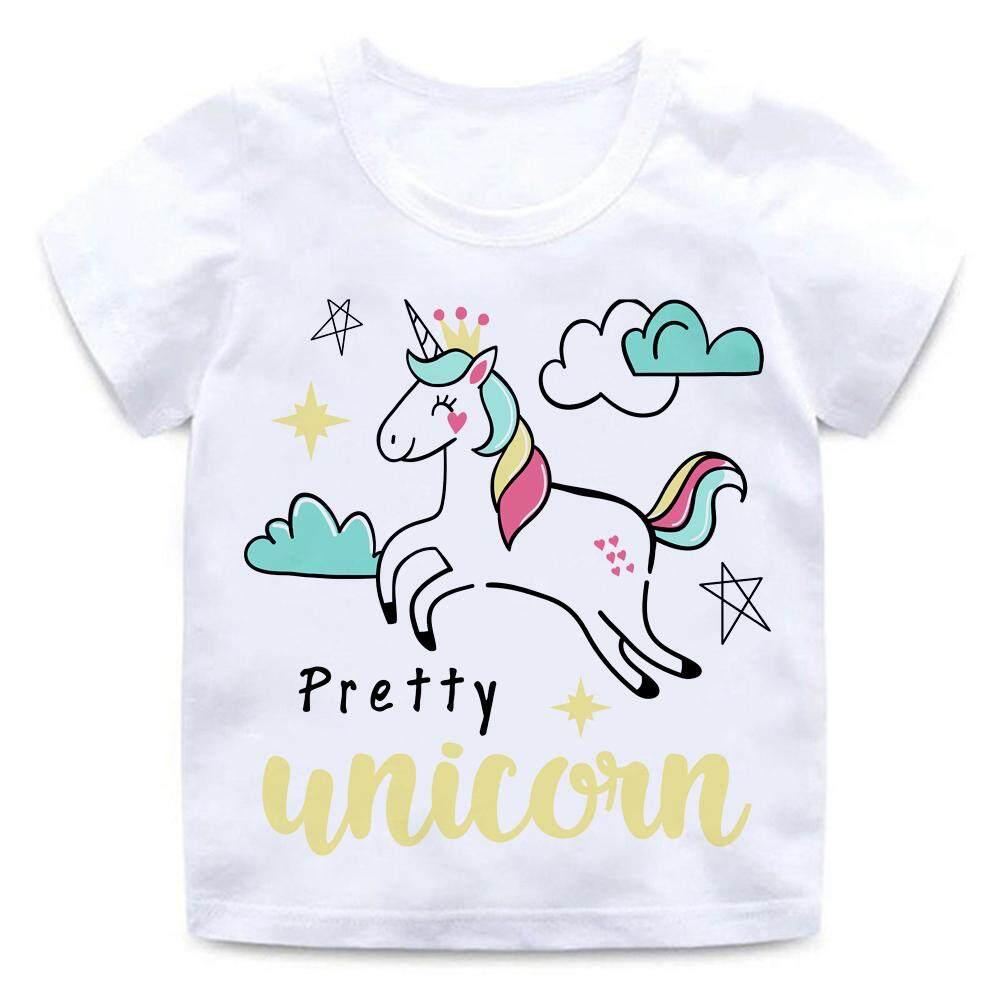 5bc097fef336d Pretty Unicorn Cloud Star Crown 2-14yrs Tshirt for kids t shirt Boy's  T-shirt Girls Cartoon Pattern T-shirt Children Summer Short Sleeves Modal  Tee ...