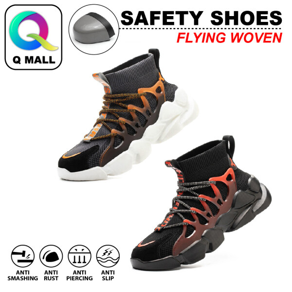 Q MALL Safety Shoes Cross-Border Flying Woven Mens Anti-Smashing Anti-Piercing Lightweight Breathable Protective Steel Toe Cap Shoes - FZ66 (GREEN / GREY) & FZ73 (ORANGE GREY / BLACK RED)