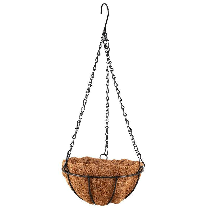 Black Growers Hanging Basket Planter with Chain Flower Plant Pot Home Garden Balcony Decoration-8inch