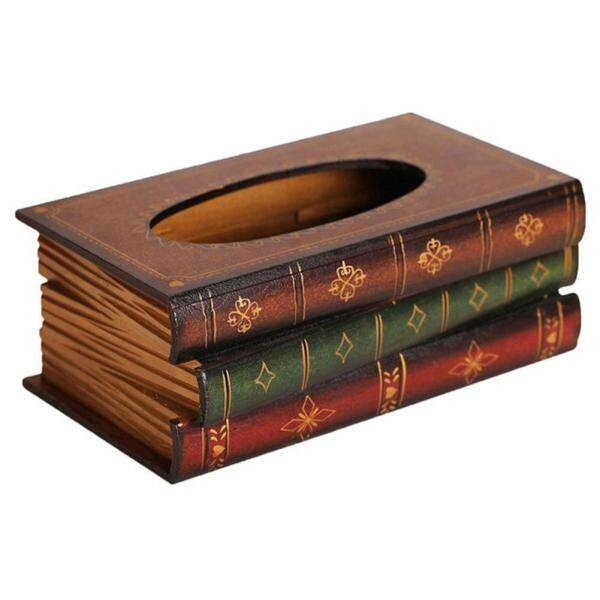 Retro Wood Book Shape Tissue Box Rectangle Napkin Paper Holder Storage Case