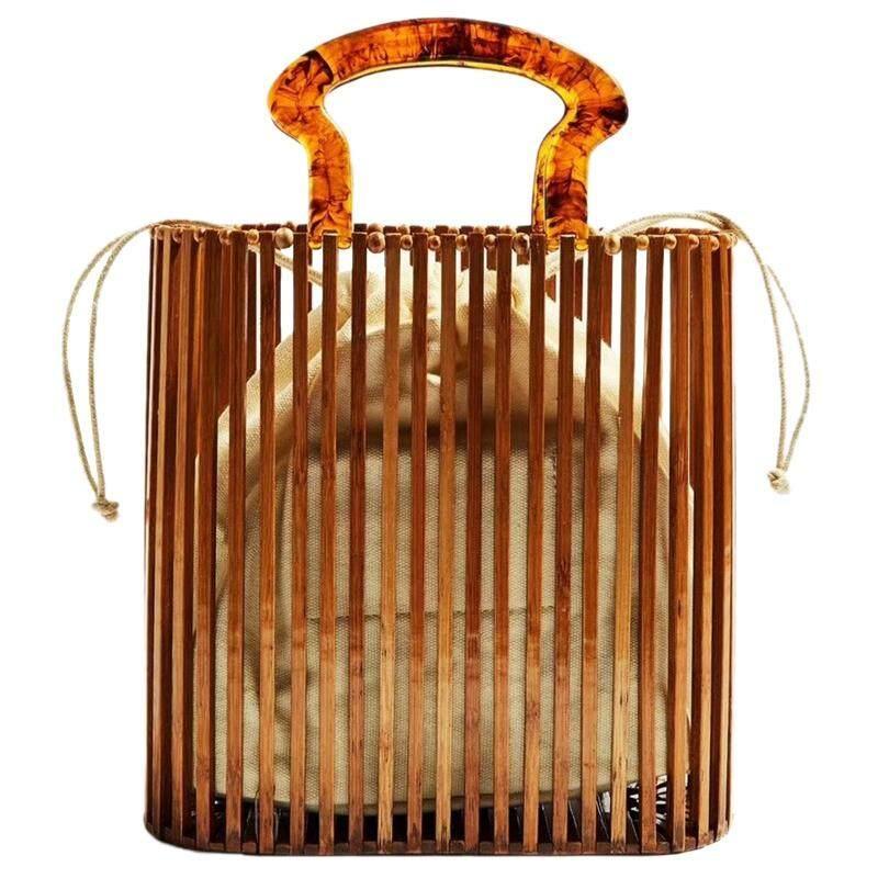 Fashion Women Bags Designer Acrylic Handle Woven Bag Bamboo Bag Stitching Hollow Bag Clutch Bali Beach Holiday Handbag