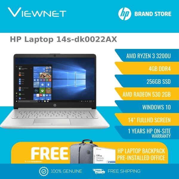 HP LAPTOP 14S-DK0022AX /14S-DK0024AX PALE GOLD/ SILVER (RYZEN 3 3200U/4GB/256GB SSD/RADEON 530 2GB/14″ HD/W10/1YR) + BAG + PRE-INSTALLED OFFICE H/S LIFE TIME Malaysia
