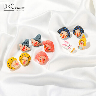 DKC Trang Sức Bông Tai Nhựa Nhân Vật Hoạt Hình Dễ Thương Ins Mới Nhất 2021 Dành Cho Nữ, Khuyên Tai Hàn Quốc Vui Nhộn Sáng Tạo Văn Học Phụ Kiện Thời Trang Cho Bé Gái Nữ thumbnail