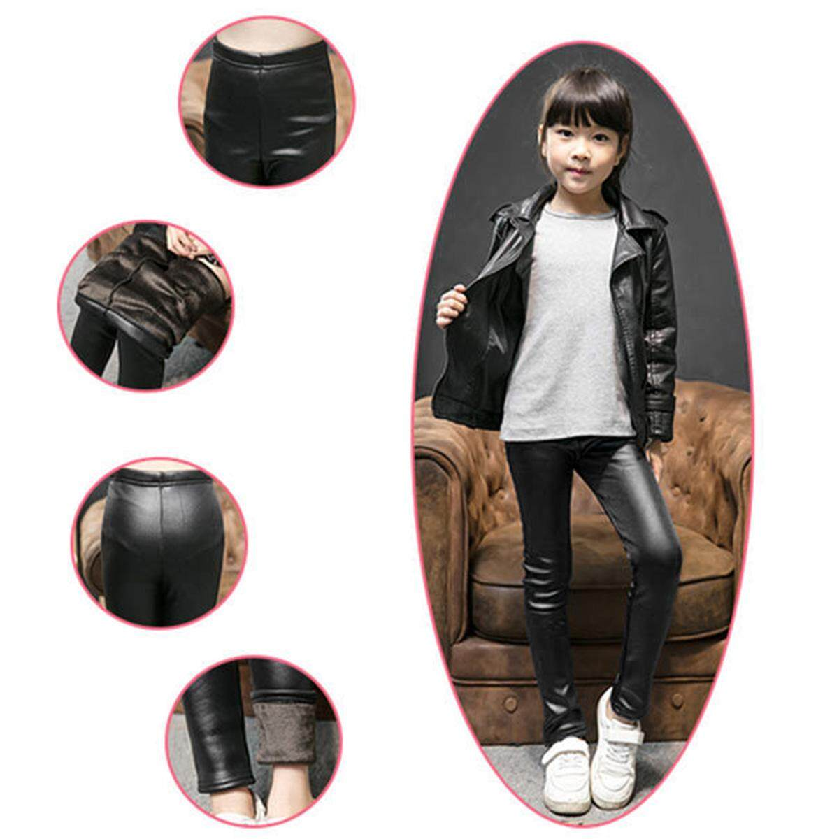 23799c0d67e05c 2019 New 2-10T Autumn Winter Warm Velvet Lined Kid Girl Pants PU Leather  Children