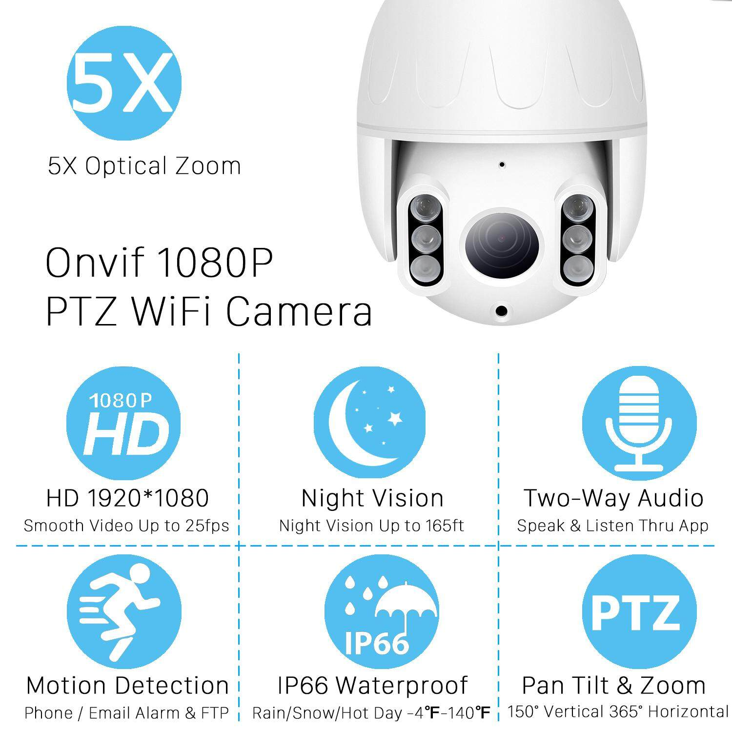 BESDER 1080P MINI PTZ WIFI IP Camera 5X ZOOM Outdoor Dome Wireless Onvif  CCTV 2 0MP IR Night Vision 50m Home Security Camera CamHi App