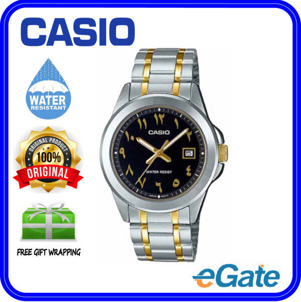 ( 2 YEARS WARRANTY ) Casio MTP-1215SG-1B3V Men Analog Date Functioning Arabic Number Classic Black Dial Two-Tone Silver Gold Stainless Steel Strap Original Casual Watch MTP-1215SG Malaysia