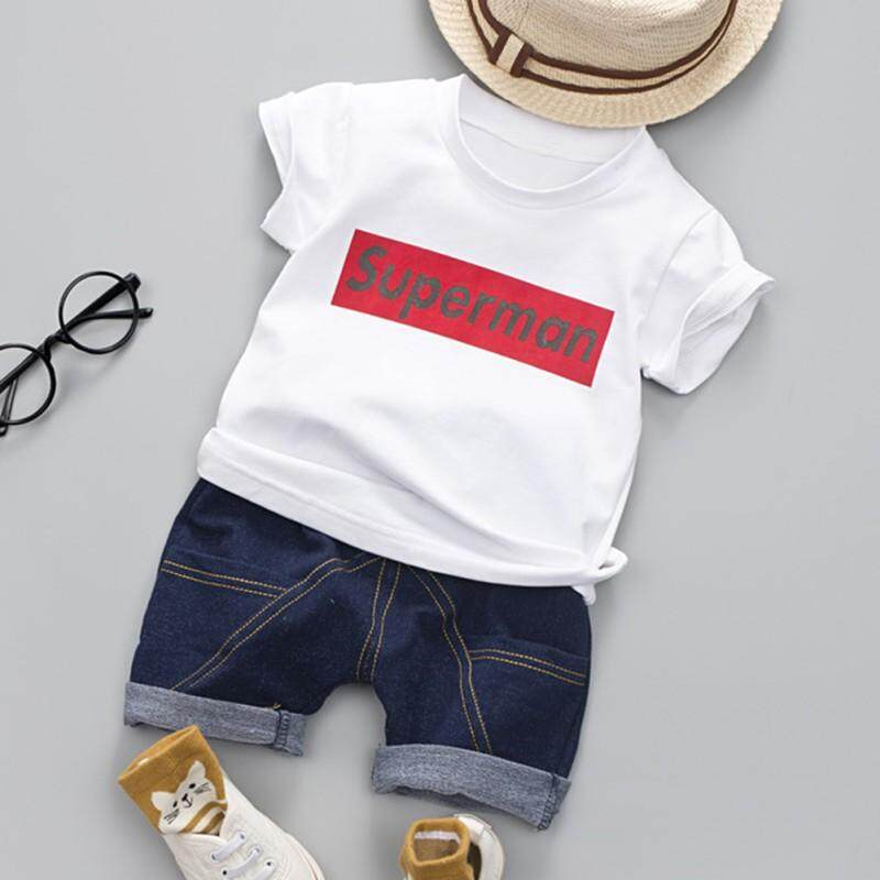 Cotton Letter T-Shirt Tops+jeans Denim Shorts By Ropalia Store.
